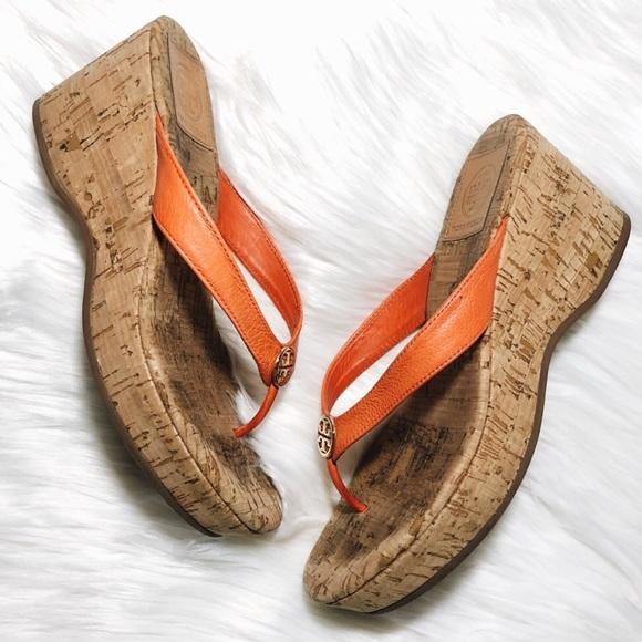ff51f54d686 Tory Burch Suzy Cork Wedge Sandals Poppy Red 7. M 5b3e7a43035cf16b5b5f042c
